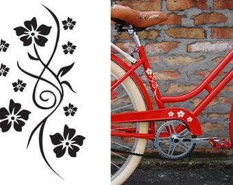 FUN STICKERS, flowers, bicycle, bike decals