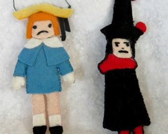 Set of Two Handmade Madeline and the Bad Hat Christmas Ornaments, Children's Book Ornaments, Vintage One of a Kind, OOAK