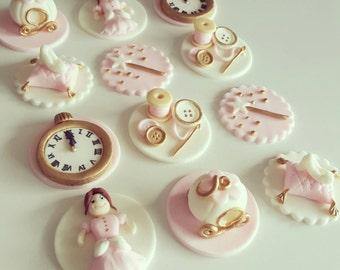 24 x cinderella princess inspired fondant edible Cupcake toppers