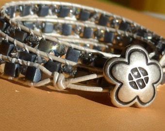 Wrap Bracelet, Blue Wrap Bracelet, Swarovski Wrap Bracelet, Flower Button Bracelet, 8050