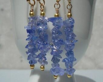 Tanzanite Earrings, Raw Tanzanite Earrings, Tanzanite Rough Earrings, Long Earrings, Gemstone Earrings, Purple Earrings, Dainty Earrings