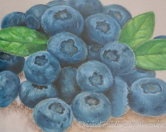 "ORIGINAL Pastel Painting, ""Blueberries"", Hand Painted Berries, Art on Pastel Paper - Signed by Artist"