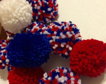 Fourth of July Pom Pom Garland, Fourth of July Party Decor, Summer Garland, Red, White, and Blue Pom Pom Garland, Patriotic Pom Pom Garland