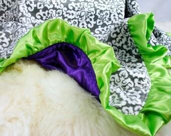 """Purple / Gray Blanket 29""""x33""""  Minky / Satin Blanket, Personalized, Baby Blanket, Crib Blanket, Stroller Blanket, Baby Girl Shower Gift"""