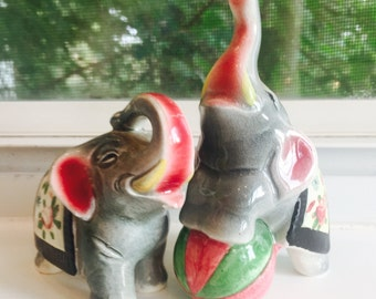 Vintage Circus Elephants Salt and Pepper Shakers from Japan