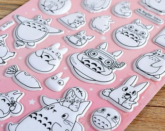 Totoro 3D Sticker Sheet, Puffy Luminous Black and White Style, Glow-in-the-Dark, Cute Kawaii Stationary, Decoration Label