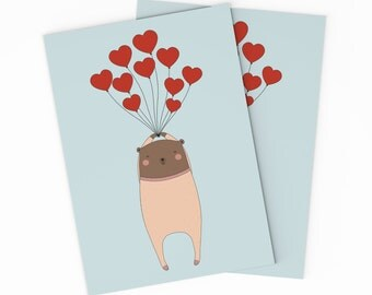 Bear Love Card - Printable Valentines Day Card -Digital Bear Valentine Card. Printable Valentine Card. DIY Love Card - Gift for Her