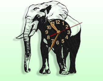 Wooden Wall clock, Elephant, Wild Nature Wood Clock 12inch(30cm), Modern, Wall Art Decor, Animals, Travel, Traveling, Black clock