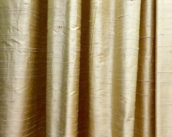 Blackout curtain, gold curtain, curtains, silk curtain panels, silk drapes, drapery, window treatments, raw silk, window curtains, lined