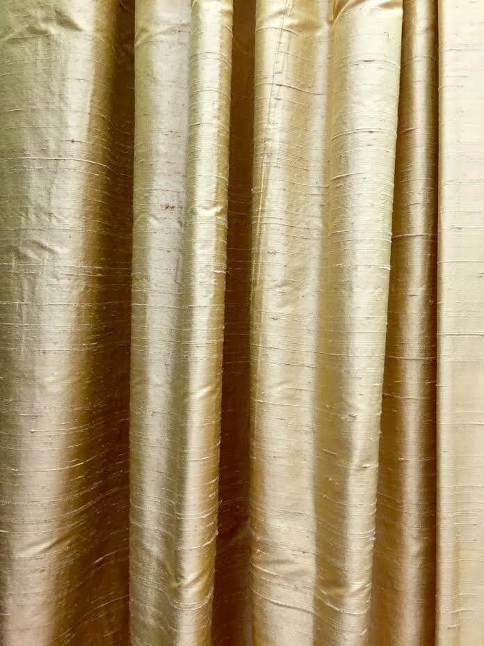 Window Treatments, Silk Curtain Panels, Silk Drapes, Drapery, Raw Silk, Gold