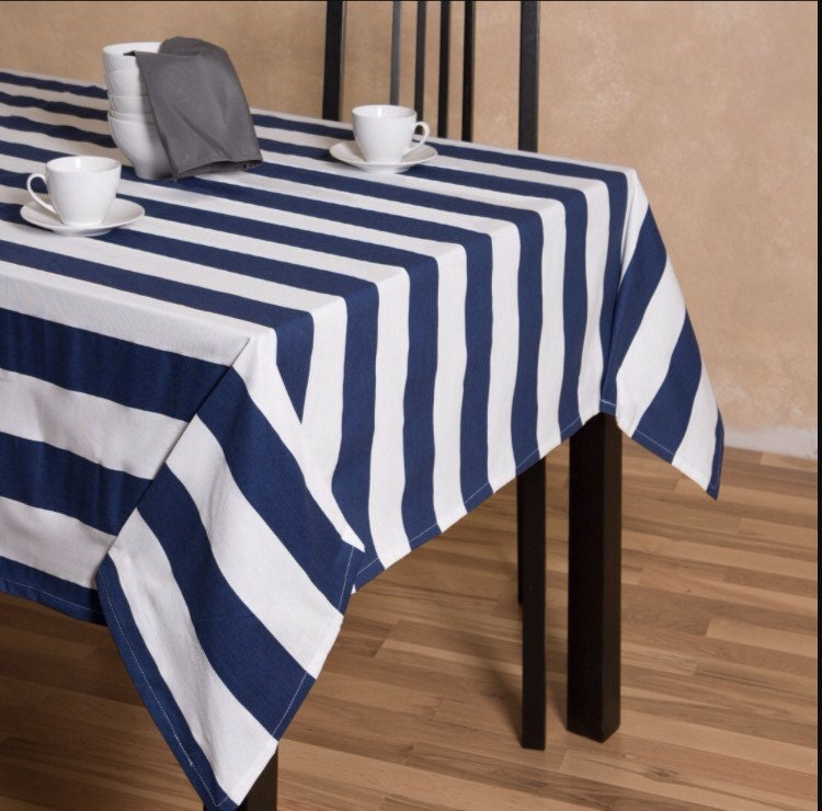 Navy Blue And White Striped Tablecloth Table Runner