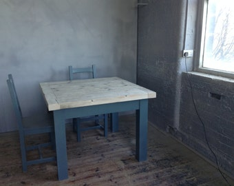 Square reclaimed timber table with Inchyra blue frame