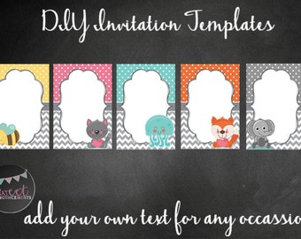 5 DIY blank card templates - personal and commercial use - no license required! (chevrons, dots, animals) - T010