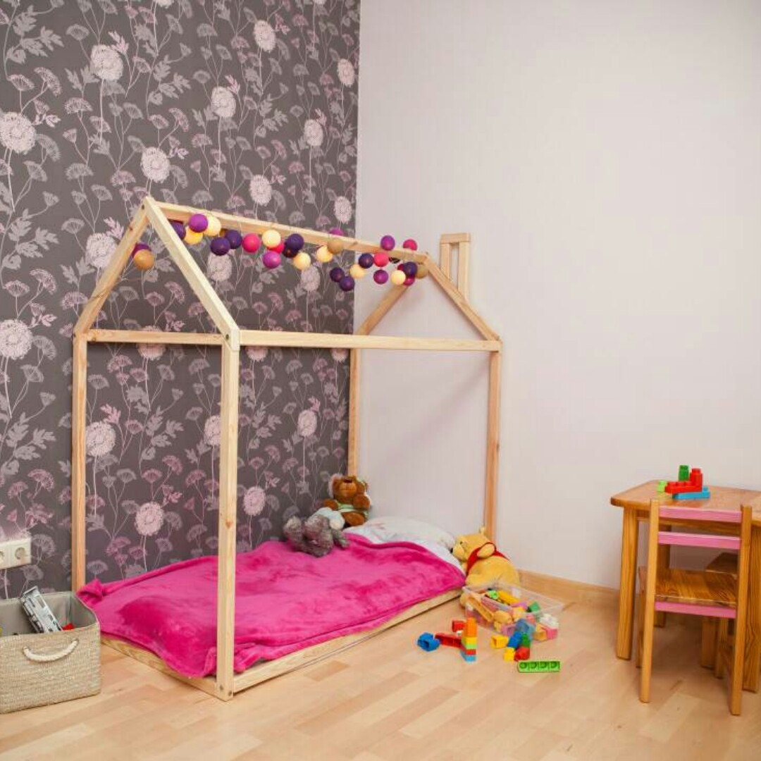 Wood bed FULL/DOUBLE toddler bed tent bed wooden house bed frame wood nursery bed house baby bed bedroom wood bed kids bed SLATS : double bed tents - memphite.com