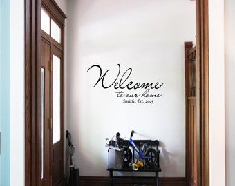 Personalized Welcome To Our Home Wall Decal, Wall Transfer, Family Name, Established, 15% Off 18.00 or more use code 122515 at checkout