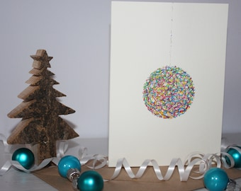 Hundreds & Thousands Bauble - Hand-Finished Christmas Card (1 of 6 Different Designs)