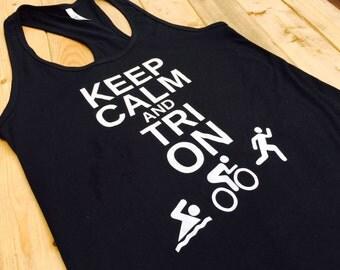 Triathlon Shirt, Workout Tank top, Running Shirt, Gym Shirt, Fitness Tank, Workout Womens, Bike Shirt, Swim Bike Run, Triathlete, Triathalon