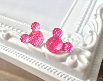 Mickey Mouse Rhinestone Earrings, Minnie Mouse Earrings, Disney Earrings, Disney Vacation Earrings, Rhinestone Stud Earrings, Pink