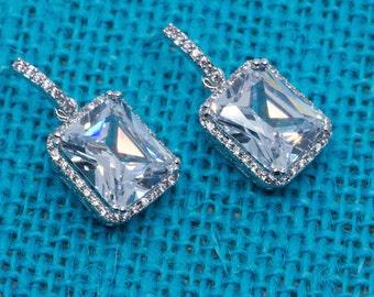 Dauphine Earrings, Wedding Earrings, Square Crystal Earrings, Bridesmaid Earrings, Wedding Jewelry, Cubic Zirconia Earrings, Elegant Jewelry