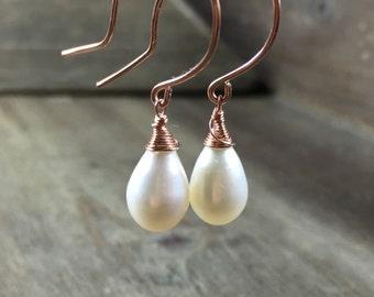 Freshwater pearl earrings freshwater pearl dangle earrings freshwater pearl drop earrings rose gold silver june birthstone bridal earrings
