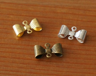 Petite Bow Connector Antique Brass Gold Silver 7mmX12mm Deco Charm Cute Small Metal Parts for Handmade Accessories Sewing Craft DIY