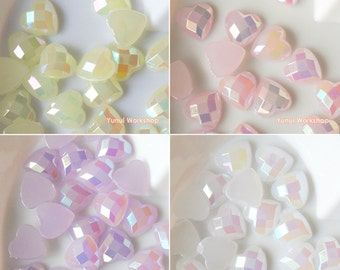 Heart Shape Acrylic Jelly AB Flat Back Multi-faceted Rhinestones Cabochon Deco Embellishments Scrapbooking Art Craft (7mm) - 20pcs/100pcs