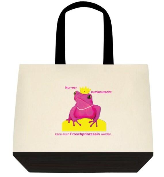 Beach bag Frog Shopper frog Lady Frog handbag purse handbag frog pink frog kissing kissing