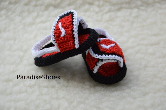 crochet nike,crochet jordan hydro 2 shoes, crochet sandals baby ...