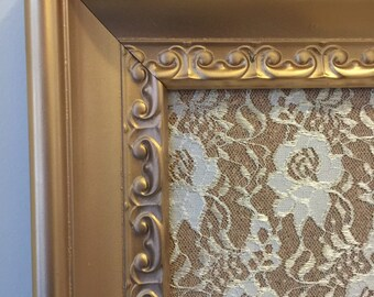24x36 Decorative Bulletin Board/Framed Bulletin Board with Lace, gold painted frame.