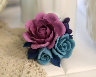 Floral barrette, handmade Flowers jewelry, polymer clay brooch, barrette, flower brooch, purple rose, polymer clay flowers