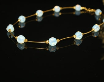 Moonstone Beads with Golden Tubes and Beads Handcrafted Short Necklace