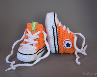 Orange baby Converse-like sneakers, Crocheted baby booties, Handmade baby shoes, 3-9 months