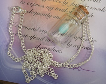 Glass Vial, Glass Bottle, Amazonite Pendant, Healing Crystal, Bottle Necklace, Vial Necklace, Gemstone Pendant.