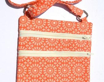 Tangerine 'Emily' Bag, cross body bag, fabric bag, handmade cross body bag, hipster bag