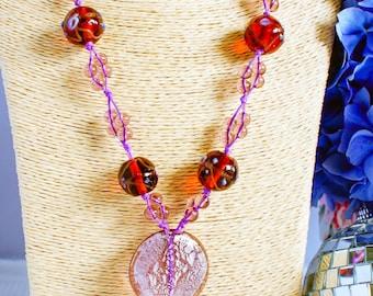 Necklace, vintage necklace, 1970's necklace, boho necklace, purple necklace