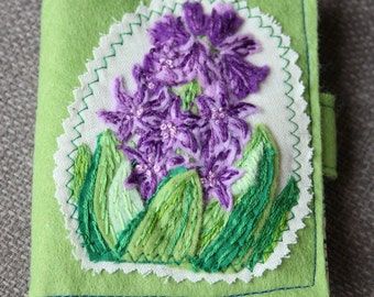 Embroidered Hyacinth needle case.