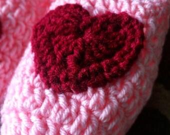 Crochet Heart House Slippers