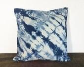 pillow cover 20x20, shibori pillow, indigo, boho pillow, bohemian pillow, indigo shibori, hand dyed, decorative pillow