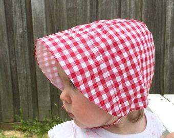 Red or Navy Pique-nique check gingham baby sun bonnet