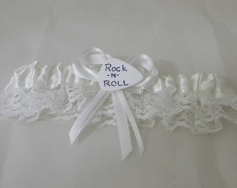 Wedding Reception Ceremony Party Guitar Pick Rock n Roll White Garter