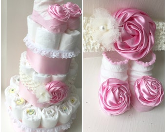 Headband and Matching Socks Pink It's a Girl Diaper Cake