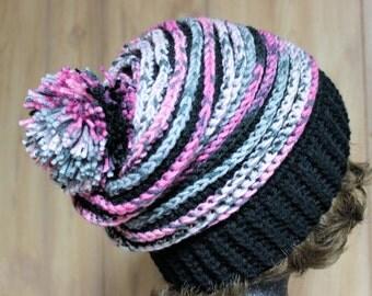 Pink & Black Spiral Slouchy Hat