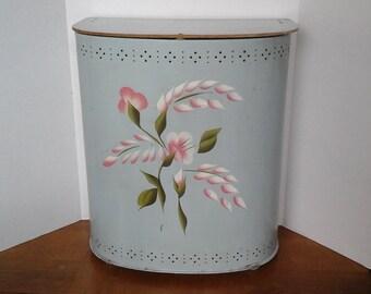 Metal Laundry Hamper, Vintage 50s Chatham Blue Hand Painted Floral Hamper