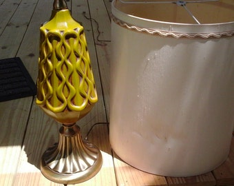 Large 70s Lamp, Yellow Green, Modern / Traditional Tall Lamp