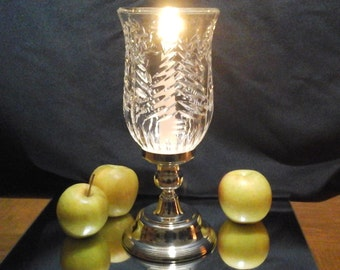 """Silver Based Hurricane, Mikasa 11 inch Tall Silver Candle Holder with """"Cut"""" Glass Hurricane, Vintage Mikasa Candleholder"""