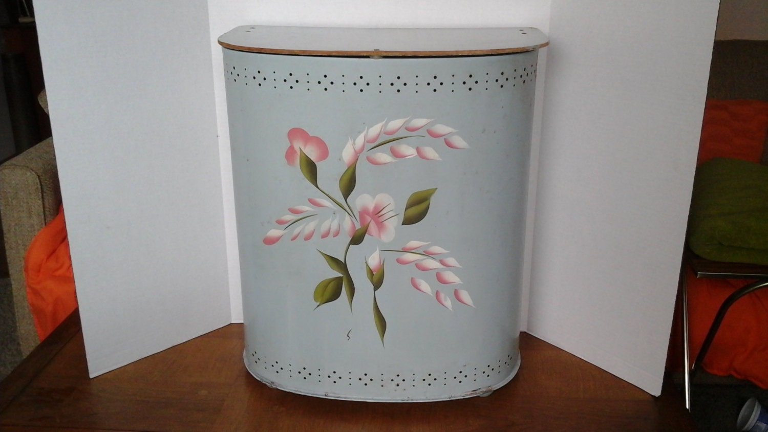 Metal Laundry Hamper Vintage 50s Chatham Blue Hand Painted