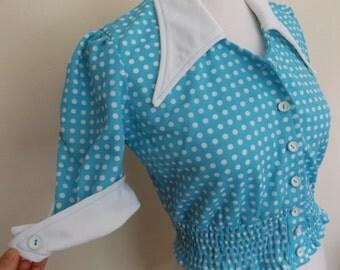 70s does 50s polka dot crimplene blouse top small 8 10