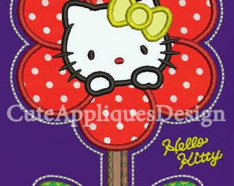 Hello Kitty In Flower 6 Color Appliques Embroidery design No:1127