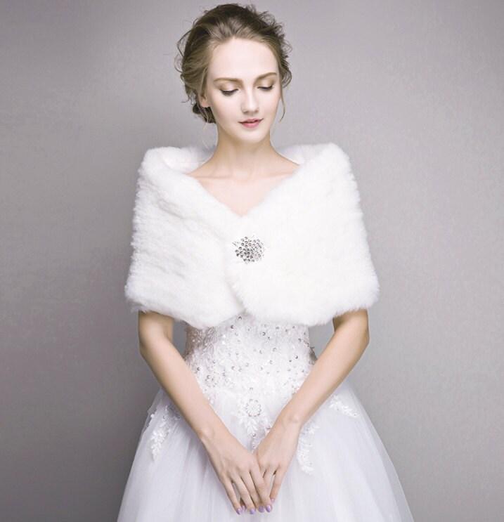 Bridal fur stole ivory faux fur shawl wedding by carrollbridal for Fur shrug for wedding dress