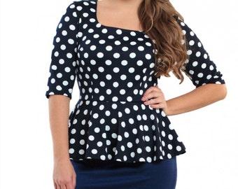 Polka dot dress / office business woman dress / dark blue dress with Basques / Contrast everyday dress / navy blue dress /